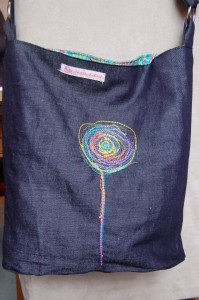 Embroidered Denim bag